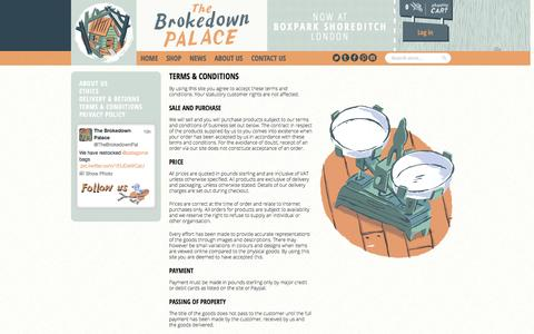 Screenshot of Terms Page thebrokedownpalace.com - The Brokedown Palace - Terms & Conditions - captured Oct. 7, 2014