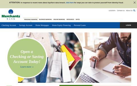Screenshot of Home Page merchantsbangor.com - Personal Banking | Merchants Bank Bangor - captured Oct. 18, 2017