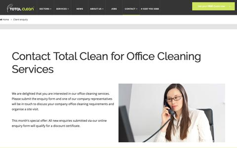Screenshot of Contact Page totalclean.co.uk - Office Cleaning in London | Client Enquiry form Total Clean - captured Oct. 20, 2018