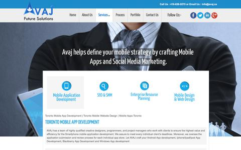 Screenshot of Services Page avaj.ca - Toronto Mobile App Development | Toronto Mobile Website Design | Mobile Apps Toronto | avaj - captured Oct. 7, 2017