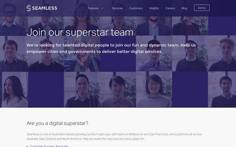 Screenshot of Jobs Page seamlesscms.com - Join the team Seamless - captured Nov. 19, 2016