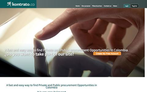 Screenshot of Home Page kontrato.co - Kontrato | Licitaciones y Contratos  | The easiest and most effective way to find Private and Public procurement in Colombia - captured Sept. 30, 2014