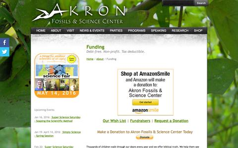 Screenshot of Support Page akronfossils.com - Funding - Akron Fossils & Science Center - captured Feb. 5, 2016