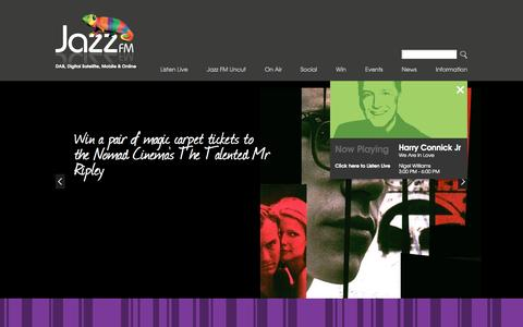 Screenshot of Home Page jazzfm.com - Jazz FM - captured Sept. 19, 2014