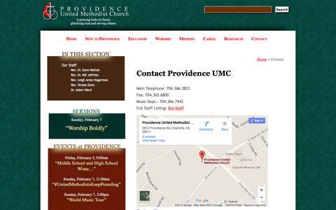 Screenshot of Contact Page providenceumc.org - Contact Providence UMC - Providence United Methodist Church - Charlotte, NC - captured Feb. 2, 2016