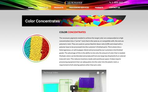 Screenshot of Products Page color-master.com - Plastic Color Concentrates - PVC Color Concentrate Pellets | Color Master - captured Sept. 28, 2018