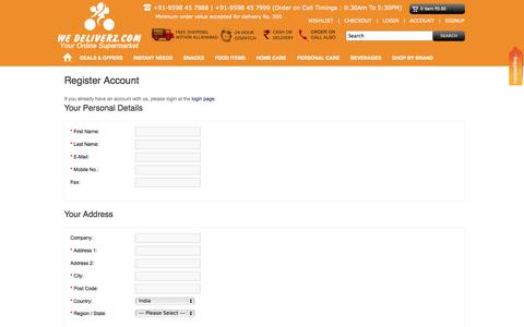 Screenshot of Signup Page wedeliverz.com - Register Account - captured Oct. 7, 2014