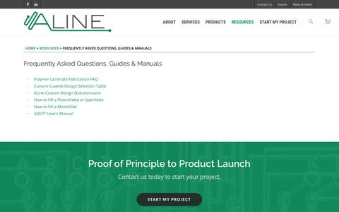 Screenshot of FAQ Page alineinc.com - Frequently Asked Questions, Guides & Manuals | ALine Inc. - captured May 28, 2017