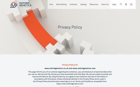 Screenshot of Privacy Page oxfordgenetics.com - Privacy Policy - captured Oct. 18, 2018