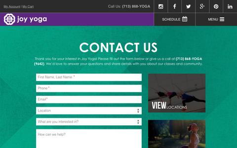 Screenshot of Contact Page joyyogacenter.com - Contact - Joy Yoga Center - captured Feb. 11, 2016