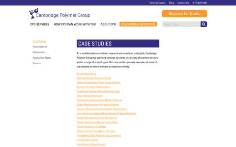 Screenshot of Case Studies Page campoly.com - Cambridge Polymer Group :: Case Studies - captured Oct. 19, 2016