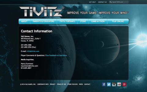 Screenshot of Contact Page tivitz.com - Contact - TiViTz Math Game - captured Oct. 1, 2014
