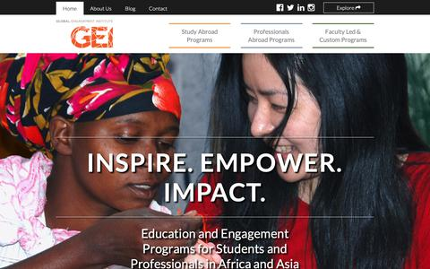 Screenshot of Home Page global-engagement.org - Global Engagement Institute (GEI) // Inspire. Empower. Impact. - captured Sept. 28, 2018