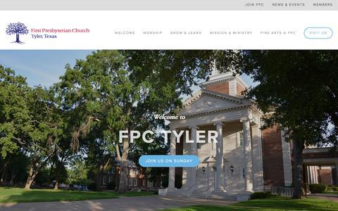 Screenshot of Home Page fpctyler.com - First Presbyterian Church - captured Feb. 10, 2016