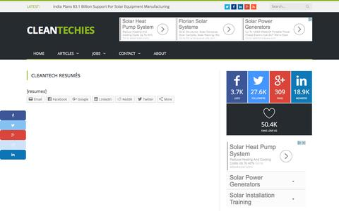 Cleantech Resumés - CleanTechies