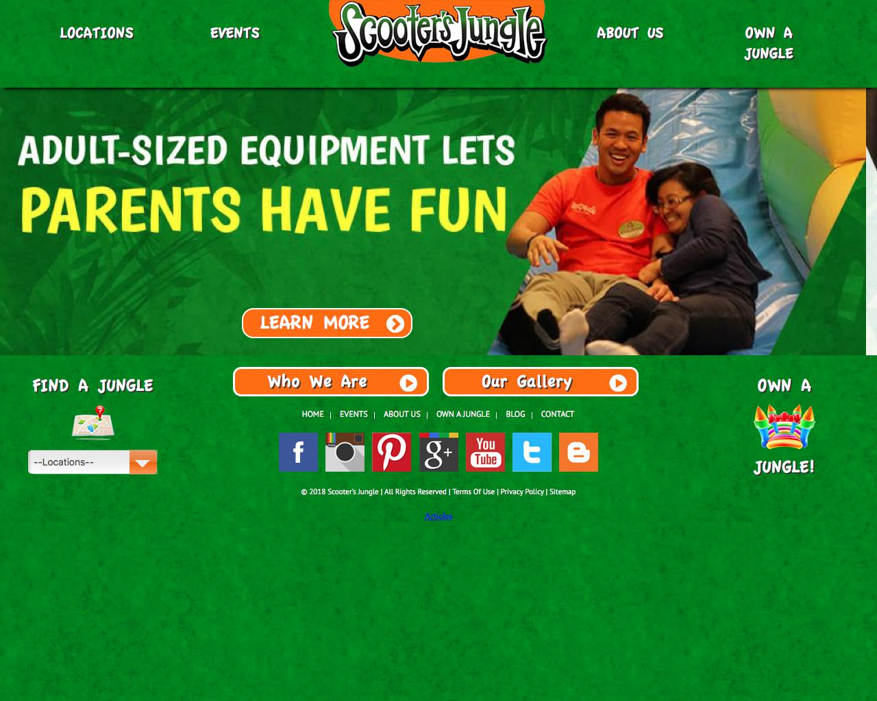 Screenshot of scootersjungle.com - Kids' Private Birthday Parties & Indoor Play Place - captured July 27, 2018