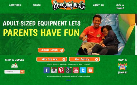 Screenshot of Home Page scootersjungle.com - Kids' Private Birthday Parties & Indoor Play Place - captured July 27, 2018