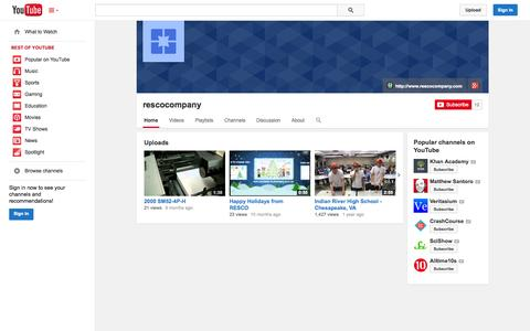 Screenshot of YouTube Page youtube.com - rescocompany  - YouTube - captured Nov. 4, 2014