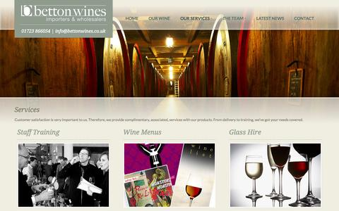 Screenshot of Services Page bettonwines.co.uk - Our Services - Betton Wines | Importers and Wholesalers of Quality Wine to Trade and the Public - captured Sept. 30, 2014