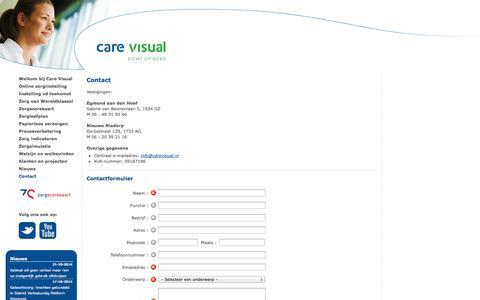 Screenshot of Contact Page carevisual.nl - Care Visual |   Contact - captured Oct. 22, 2014