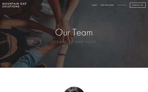 Screenshot of Team Page mountaingapsolutions.com - Our Team — Mountain Gap Solutions - captured Sept. 21, 2018