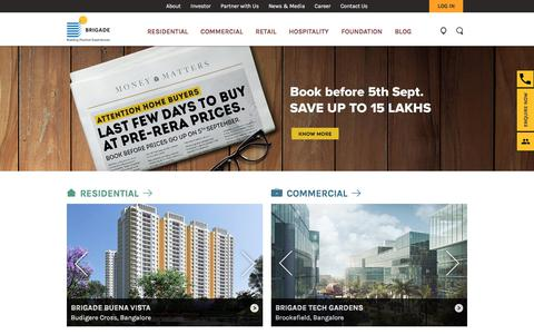 Screenshot of Home Page brigadegroup.com - Luxury Apartments in Bangalore | Top Builders in India - Brigade Group - captured Sept. 2, 2017
