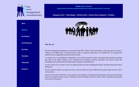 Screenshot of About Page bmdubai.com - Blue Marin Management Consultancies | About Us - captured Oct. 5, 2014
