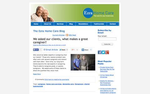 Screenshot of Blog ezrahomecare.com - Ezra Home Care's Blog - captured Oct. 3, 2014