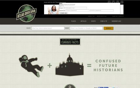 Screenshot of Signup Page atlasobscura.com - Atlas Obscura | Curious and Wondrous Travel Destinations - captured Sept. 18, 2014