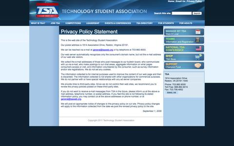 Screenshot of Privacy Page tsaweb.org - Privacy Policy Statement | Technology Student Association - captured Oct. 26, 2014