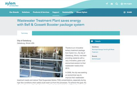 Screenshot of Case Studies Page xylem.com - USA-Illinois-Bell & Gossett-Wastewater Treatment Plant saves energy with Bell & Gossett Booster package system   Xylem US - captured Nov. 9, 2019