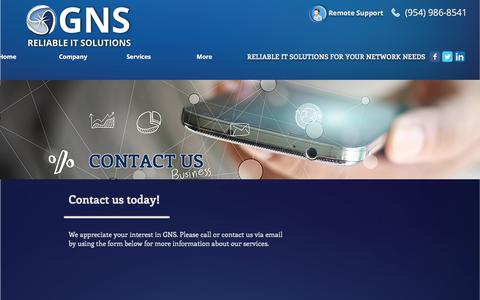 Screenshot of Contact Page us-gns.com - GNS | Contact - captured July 21, 2017