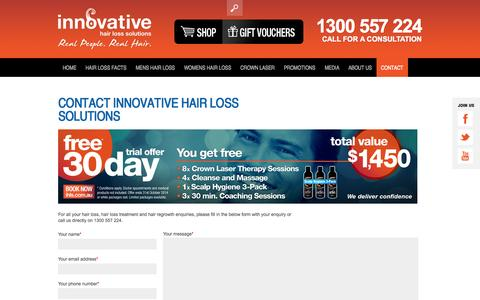 Screenshot of Contact Page ihls.com.au - Contact Us | 1300-557-224 | Innovative Hair Loss Solutions - captured Oct. 6, 2014