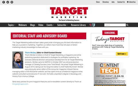 Screenshot of Contact Page targetmarketingmag.com - Target Marketing magazine editorial staff - captured Jan. 17, 2016