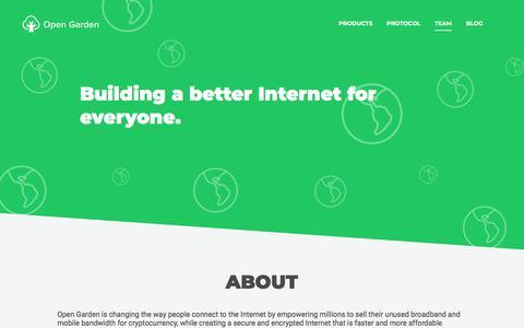 Screenshot of Team Page opengarden.com - Team – Open Garden - captured Sept. 19, 2018