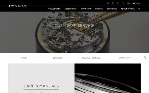 Screenshot of Support Page panerai.com - Customer Service - Officine Panerai - captured Oct. 18, 2018