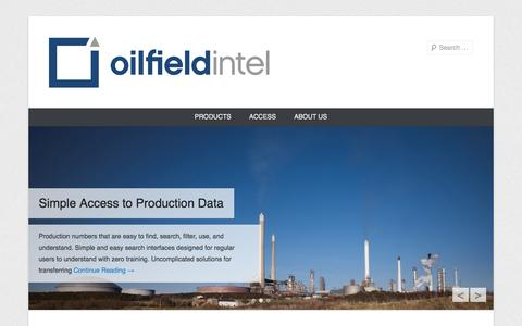 Screenshot of Home Page Menu Page oilfield-intel.com - Oilfield Intel - captured Sept. 30, 2014