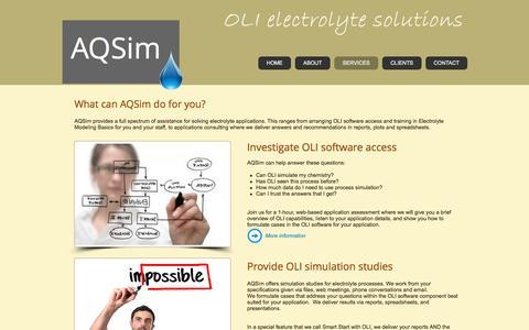 Screenshot of Services Page aqsim.com - AQSim services - captured Nov. 19, 2016