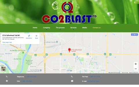 Screenshot of Contact Page co2blastingservices.com - Contact us - captured Sept. 28, 2018