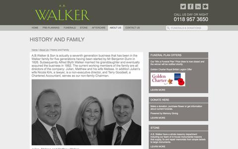 Screenshot of About Page abwalker.co.uk - History and Family - Funeral Directors Berkshire | Funerals Oxfordshire | A.B. Walker - captured Jan. 28, 2017