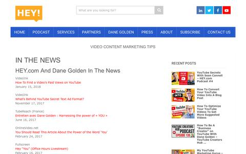 Screenshot of Press Page hey.com - IN THE NEWS - HEY.com - captured Sept. 28, 2018