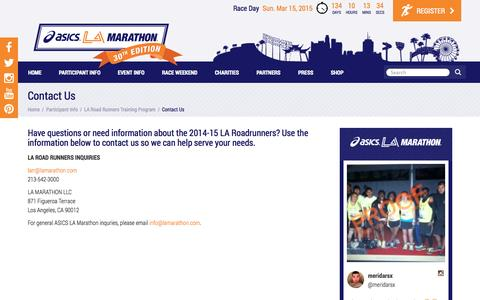 Screenshot of Contact Page lamarathon.com - LA Marathon - Contact Us - captured Nov. 1, 2014