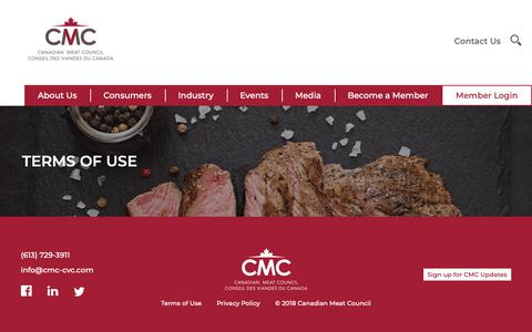 Screenshot of Terms Page cmc-cvc.com - Terms of Use – Canadian Meat Council – Good for you. Good for Canada. - captured Dec. 13, 2018