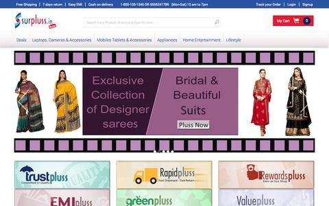 Screenshot of Home Page surpluss.in - Online Shopping - Online Shopping Store - Online Shopping Websites - captured Sept. 23, 2014