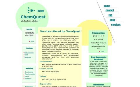 Screenshot of Services Page chemquestuk.com - Services - captured Oct. 2, 2014