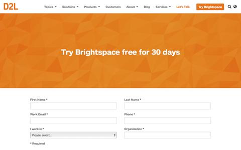 Screenshot of Trial Page d2l.com - Brightspace LMS Free Trial | D2L - captured March 3, 2017