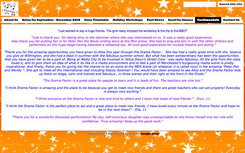 Screenshot of Testimonials Page dramafactor.com - Testimonials - Drama Factor - captured Sept. 30, 2014