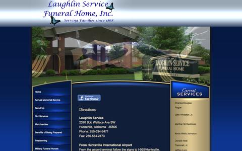 Screenshot of Maps & Directions Page laughlinservice.com - LAUGHLIN SERVICE FUNERAL HOME - captured Oct. 2, 2014