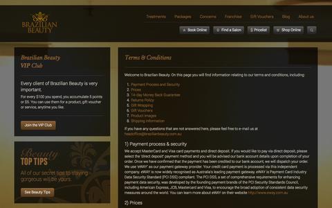 Screenshot of Terms Page brazilianbeauty.com.au - Terms & Conditions |  Brazilian Beauty - captured Sept. 30, 2014