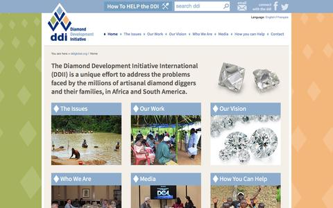Screenshot of Home Page ddiglobal.org - The Diamond Development Initiative International (DDII) - Enabling positive development for Artisanal Diamond Mining communities in Africa and South America - captured Oct. 5, 2014
